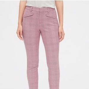 NWT GAP Pink Plaid Skinny Ankle Pants 4